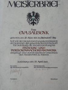 Meisterbrief Eva Sausenk